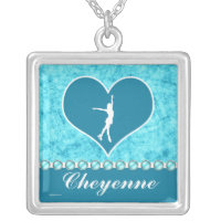 Monogrammed Beautiful Turquoise Figure Skater Silver Plated Necklace