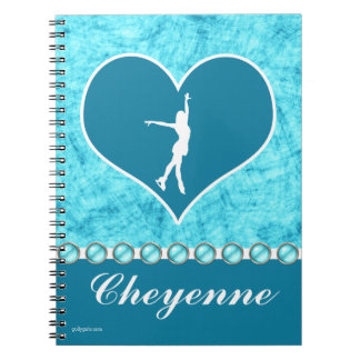 Monogrammed Beautiful Turquoise Figure Skater Spiral Notebook