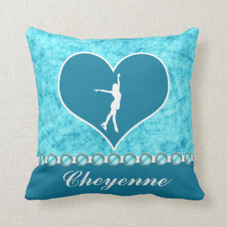 Monogrammed Beautiful Turquoise Figure Skater Throw Pillow
