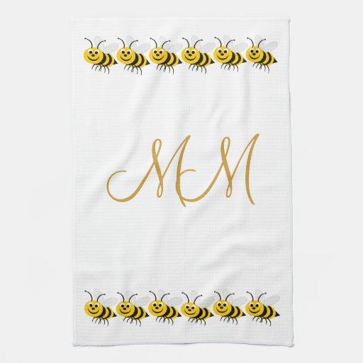 Monogrammed Bees American MoJo Kitchen Towel