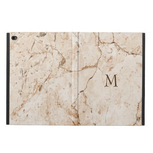 Monogrammed Beige And Brown Marble Stone Powis iPad Air 2 Case