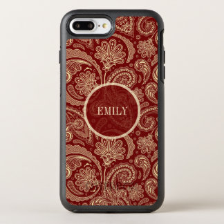 Monogrammed Beige And Dark Red Paisley OtterBox Symmetry iPhone 8 Plus/7 Plus Case