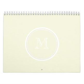 Monogrammed Beige High End Colored Calendar