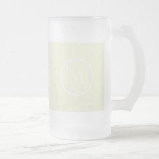 Monogrammed Beige High End Colored Frosted Glass Beer Mug