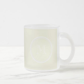 Monogrammed Beige High End Colored Frosted Glass Coffee Mug
