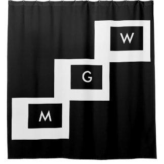 monogrammed big blocks on black shower curtain