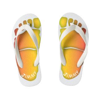Monogrammed Big-Foot Footprints Toddler & Kids #6 Kid's Flip Flops