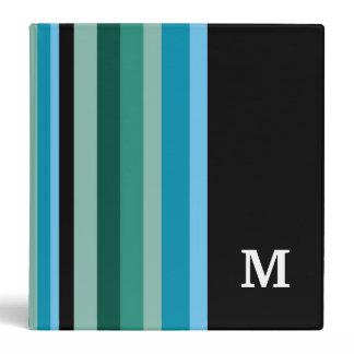 Monogrammed Binder ::Aqua Colors Stripes
