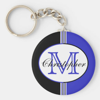 Monogrammed Black and Blue Stripes Keychain
