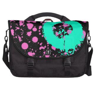 Monogrammed Black and Fuschia Splatter Paint Art Laptop Bags