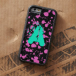 Monogrammed Black and Fuschia Splatter Paint Art Tough Xtreme iPhone 6 Case