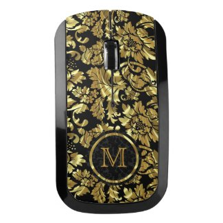 Monogrammed Black And Gold Damask