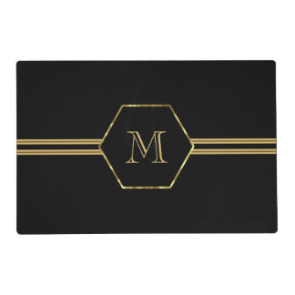 Monogrammed Black And Gold Geometric Shapes Placemat