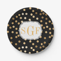 Monogrammed Black and Gold Glitter Dots Paper Plate