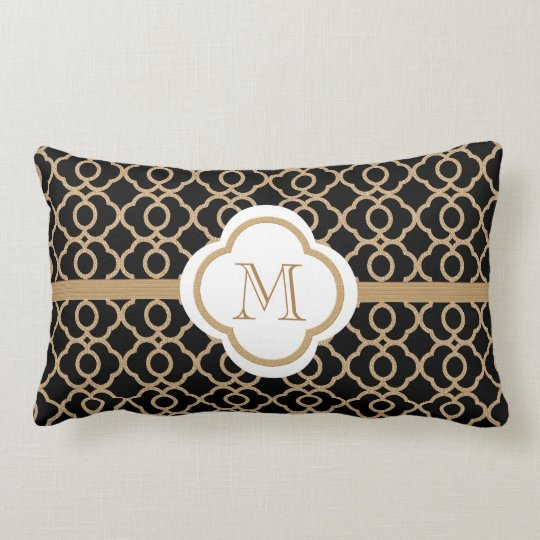 Monogrammed Black And Gold Moroccan Lumbar Pillow Zazzle Com