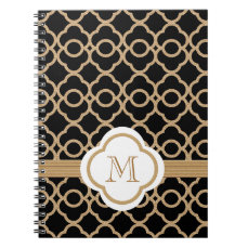 Monogrammed Black and Gold Moroccan Notebook