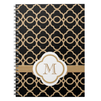 Monogrammed Black and Gold Moroccan Spiral Notebook