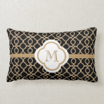 Monogrammed Black and Gold Moroccan Throw Pillow