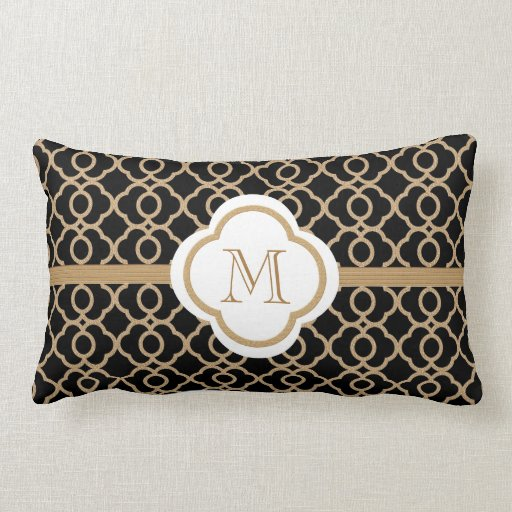 monogrammed black and gold moroccan throw pillow zazzle. Black Bedroom Furniture Sets. Home Design Ideas
