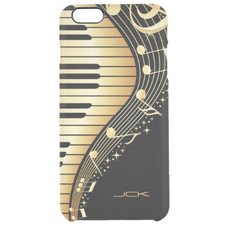 Monogrammed  Black And Gold Music Notes Design Clear iPhone 6 Plus Case