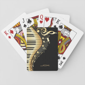 Monogrammed Black And Gold Music Notes Playing Cards