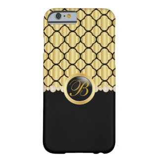 Monogrammed Black and Gold Quatrefoil Barely There iPhone 6 Case