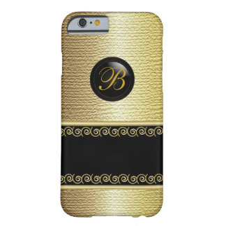 Monogrammed Black and Gold Texture Barely There iPhone 6 Case