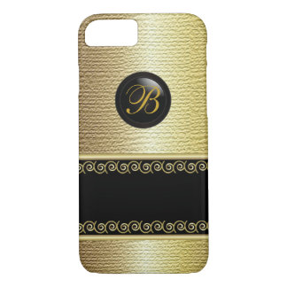 Monogrammed Black and Gold Texture iPhone 8/7 Case