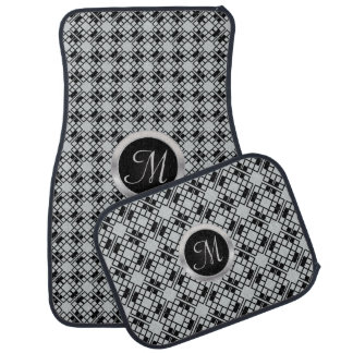Monogrammed Black and Gray Abstract Car Mat