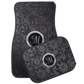 Monogrammed Black and Gray Damask Car Mat