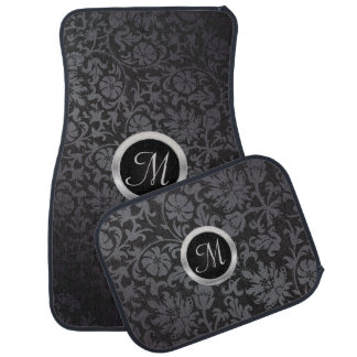 Monogrammed Black and Gray Damask Floor Mat