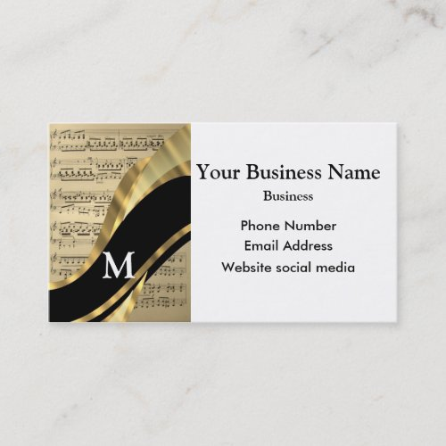 Monogrammed black and music musicians appointment card