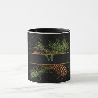Monogrammed Black and Pine Cone Woodland Theme Mug