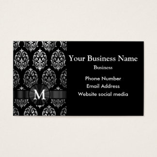 Monogrammed black and silver damask business card