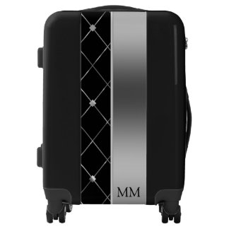 Monogrammed Black And Silver Geometric Shapes Luggage