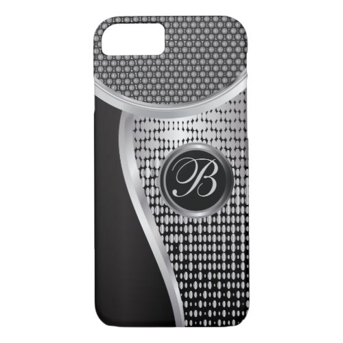Monogrammed Black and Silver Mesh Phone Case