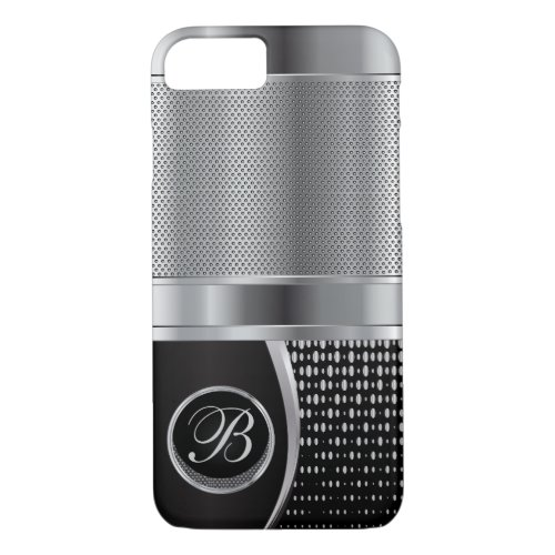 Monogrammed Black and Silver Metallic Mesh Phone Case