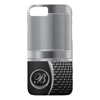 Monogrammed Black and Silver Metallic Mesh iPhone 7 Case