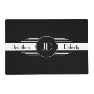 Monogrammed Black and White Art Deco Placemat