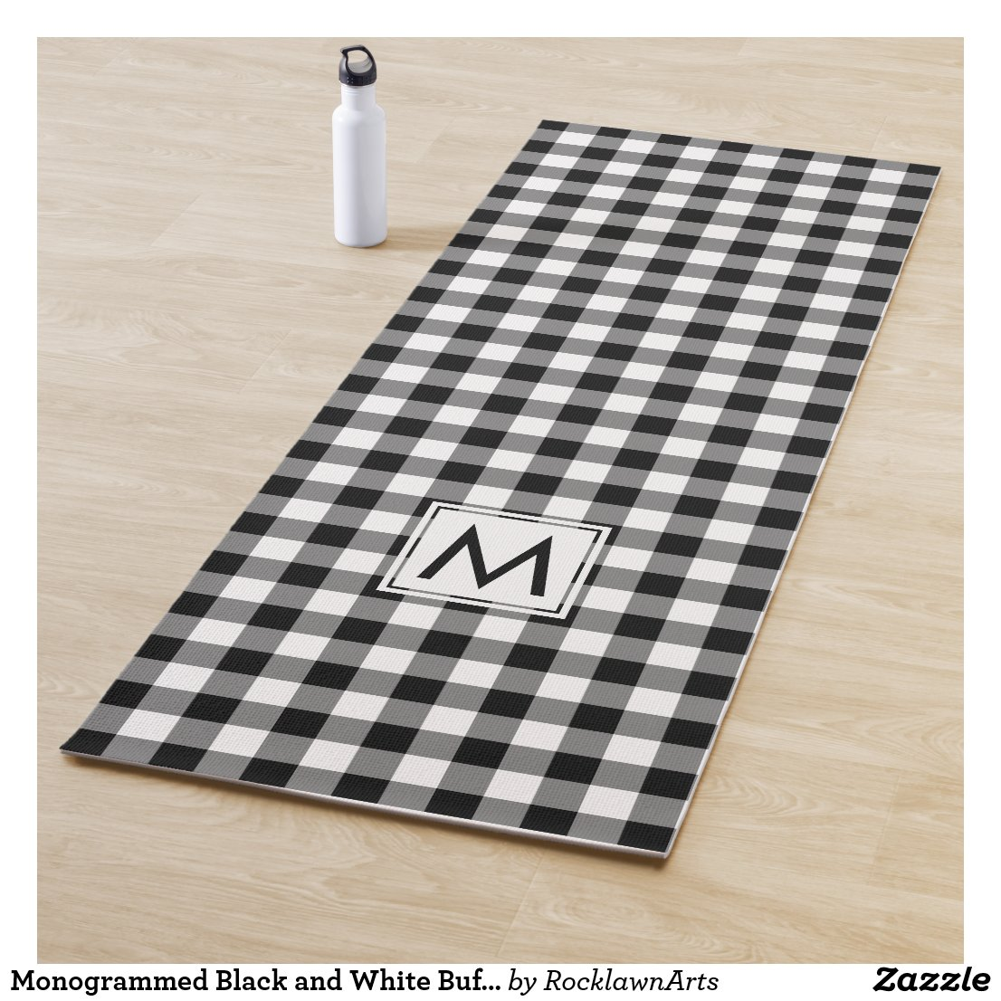 Monogrammed Black and White Buffalo Check Pattern Yoga Mat