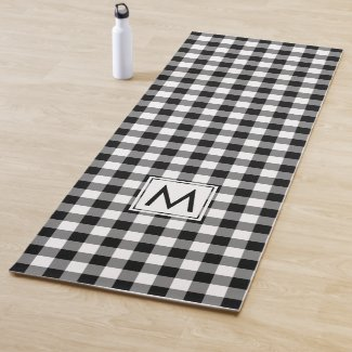 Monogrammed Black and White Buffalo Check Pattern Yoga Mat