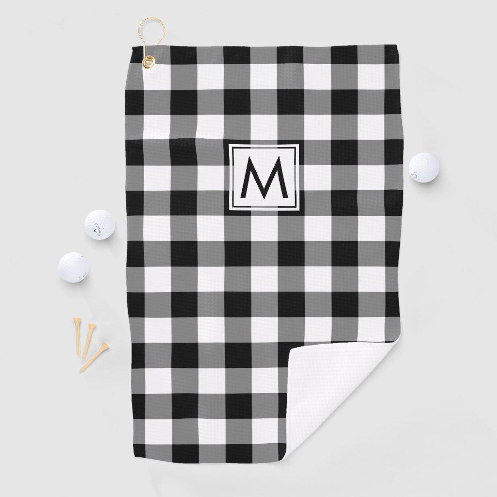 Monogrammed Black and White Buffalo Plaid Pattern Golf Towel