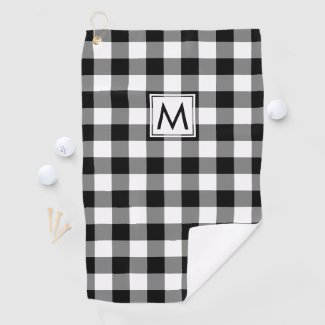 Monogrammed Black and White Buffalo Plaid Pattern Golf Towel
