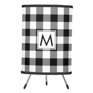 Monogrammed Black and White Gingham Plaid Pattern Tripod Lamp