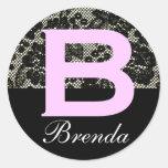 Monogrammed Black and White Letter B Sticker