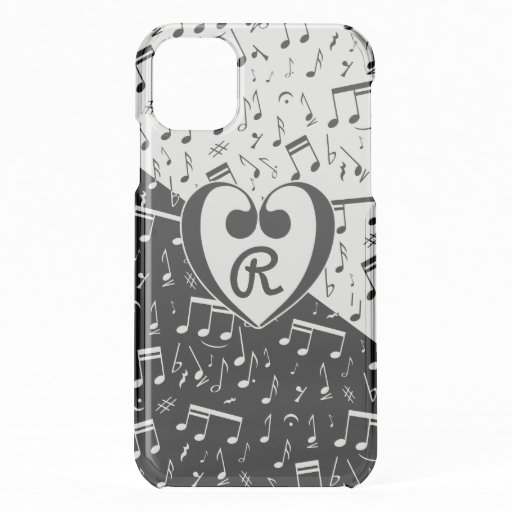 Monogrammed black and white love music iPhone 11 case
