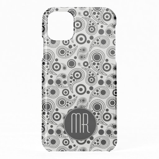 Monogrammed black and white paisley style pattern iPhone 11 case