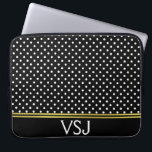 "Monogrammed Black and White Polka Dot Pattern Computer Sleeve<br><div class=""desc"">A pattern of white polka dots is on this black laptop sleeve. Personalize it with your monogram at the bottom. Faux gold lines are an artistic rendering only (no foil on product).</div>"