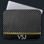 """Monogrammed Black and White Polka Dot Pattern Computer Sleeve<br><div class=""""desc"""">A pattern of white polka dots is on this black laptop sleeve. Personalize it with your monogram at the bottom. Faux gold lines are an artistic rendering only (no foil on product).</div>"""