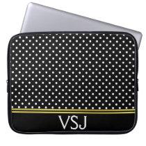Monogrammed Black and White Polka Dot Pattern Computer Sleeve